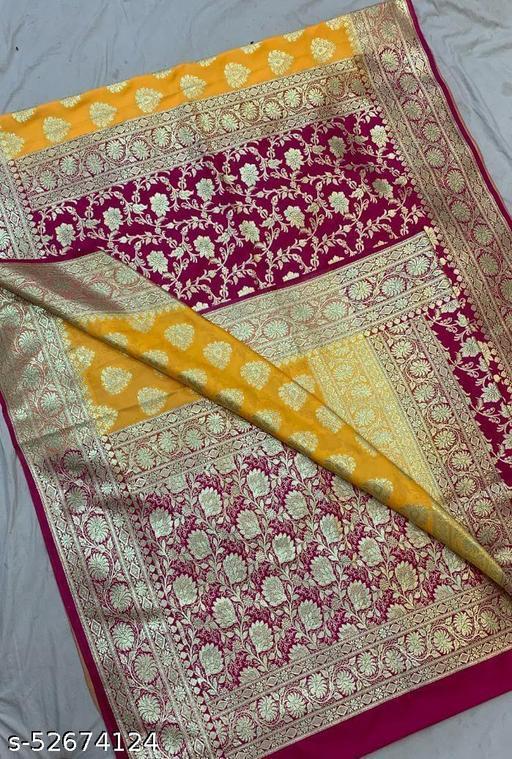 (R3Yellow) Fabulous Banarsi Partly Silk Saree Specially For Weddings