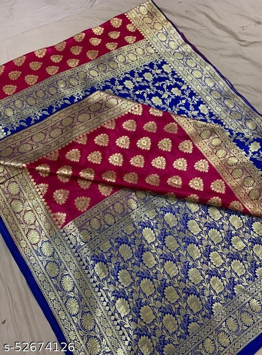 (R3Pink) Fabulous Banarsi Partly Silk Saree Specially For Weddings