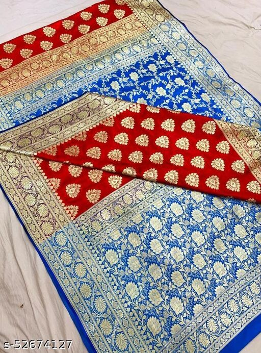 (R3Red) Fabulous Banarsi Partly Silk Saree Specially For Weddings