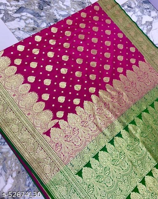 (R4Pink) TrenDy Fashionable Banarsi Silk Saree