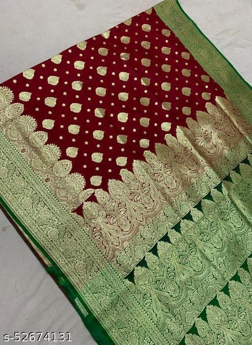 (R4Maroon) TrenDy Fashionable Banarsi Silk Saree