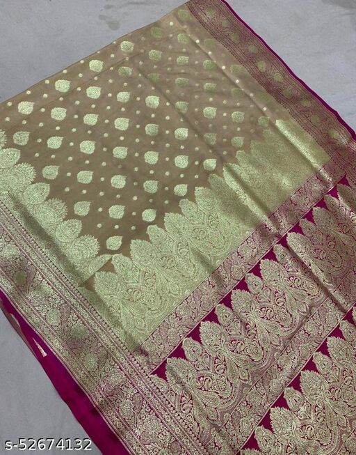 (R4Cream) TrenDy Fashionable Banarsi Silk Saree