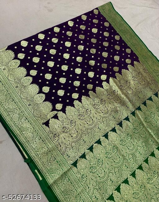 (R4Purple) TrenDy Fashionable Banarsi Silk Saree