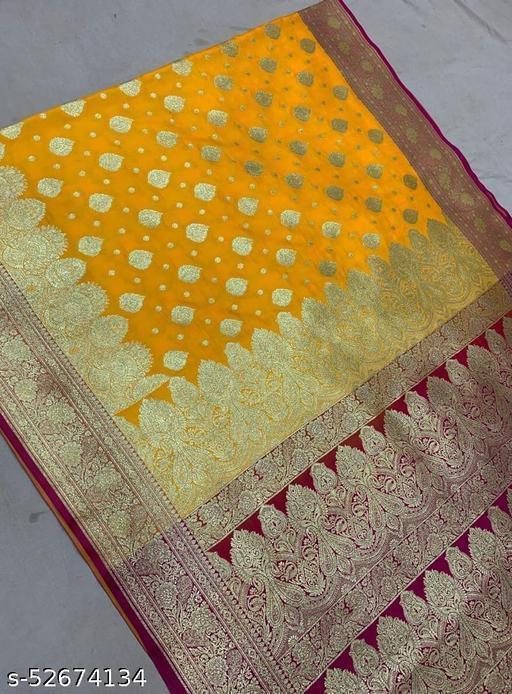 (R4Yellow) TrenDy Fashionable Banarsi Silk Saree