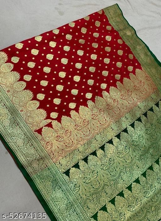 (R4Red) TrenDy Fashionable Banarsi Silk Saree