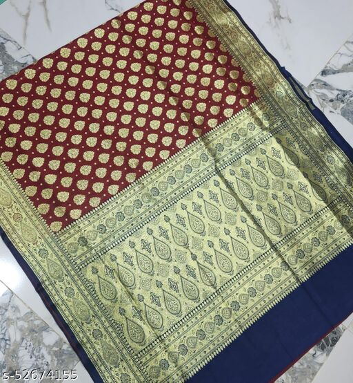 (R5Maroon) Fabulous TrenDy Banarsi Silk Saree