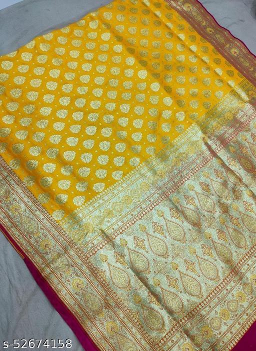 (R5Yellow) Fabulous TrenDy Banarsi Silk Saree