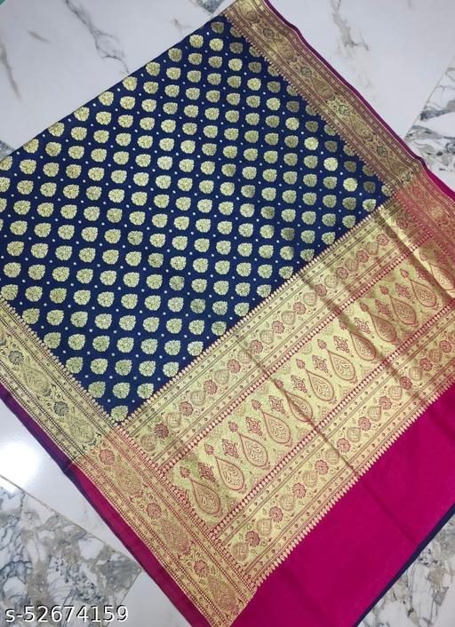 (R5Navy Blue) Fabulous TrenDy Banarsi Silk Saree