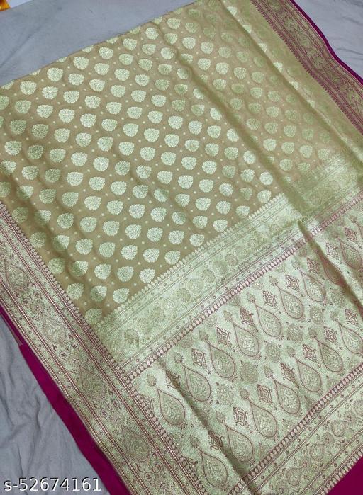 (R5Cream) Fabulous TrenDy Banarsi Silk Saree