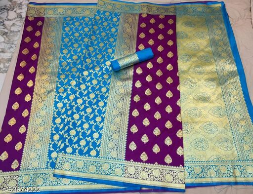 (R13Purple) Fabulous TrenDy Banarsi Partly Silk Saree for Specially Weddings
