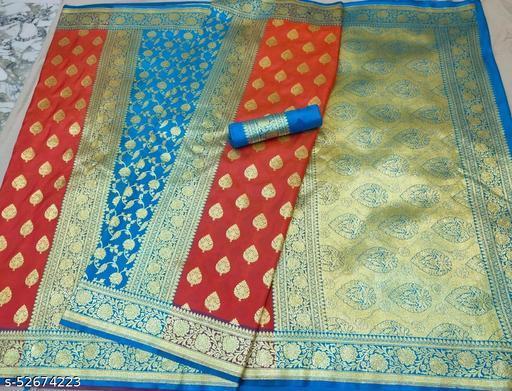 (R13Peach) Fabulous TrenDy Banarsi Partly Silk Saree for Specially Weddings