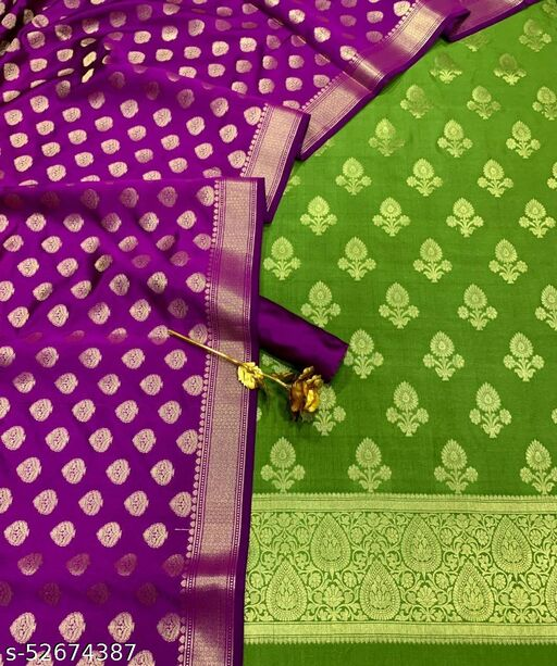 (R21Mint Green) Fabulous Banarsi Contrass Silk Suit And Dress Material