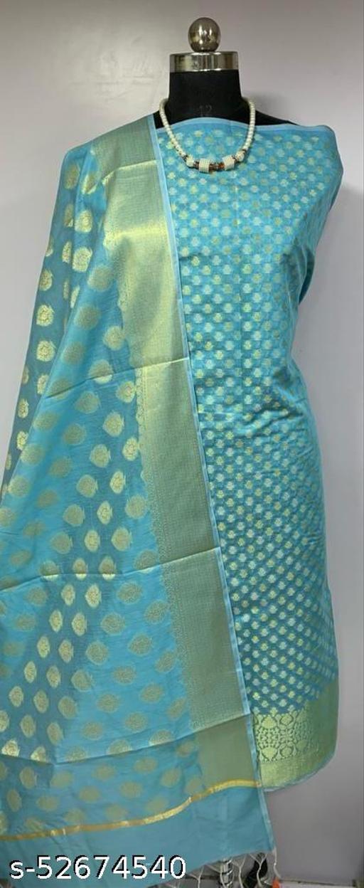 (K1Aqua Blue) TRenDy Banarsi Cotton Suit And Dress Material