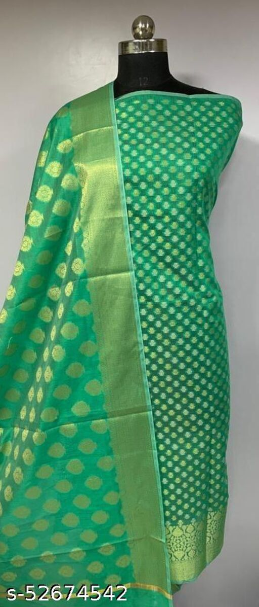 (K1Mint Green) TRenDy Banarsi Cotton Suit And Dress Material