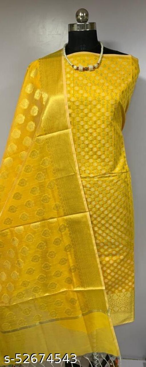 (K1Yellow) TRenDy Banarsi Cotton Suit And Dress Material