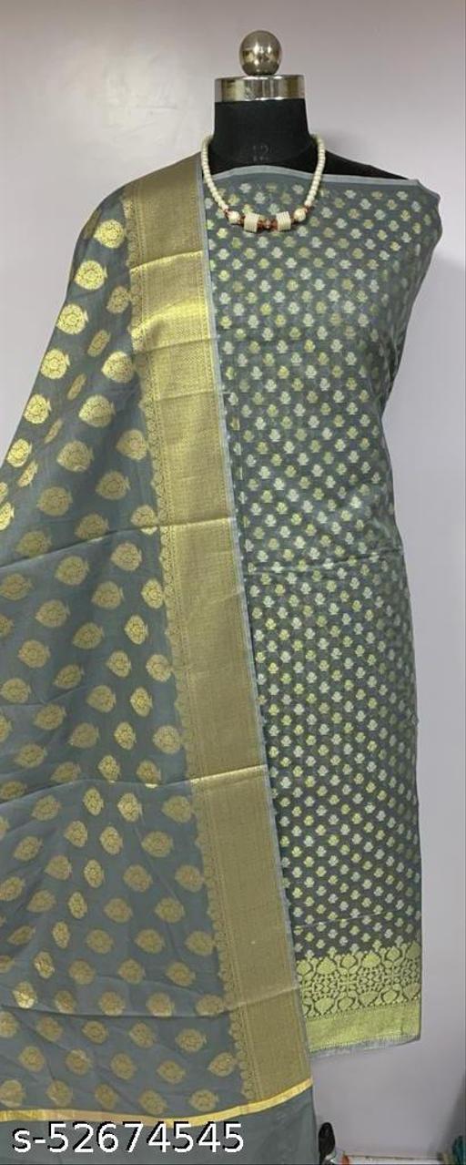 (K1Grey) TRenDy Banarsi Cotton Suit And Dress Material