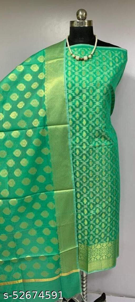 (K2Mint Green) Fashionable Banarsi Cotton Suit And Dress Material