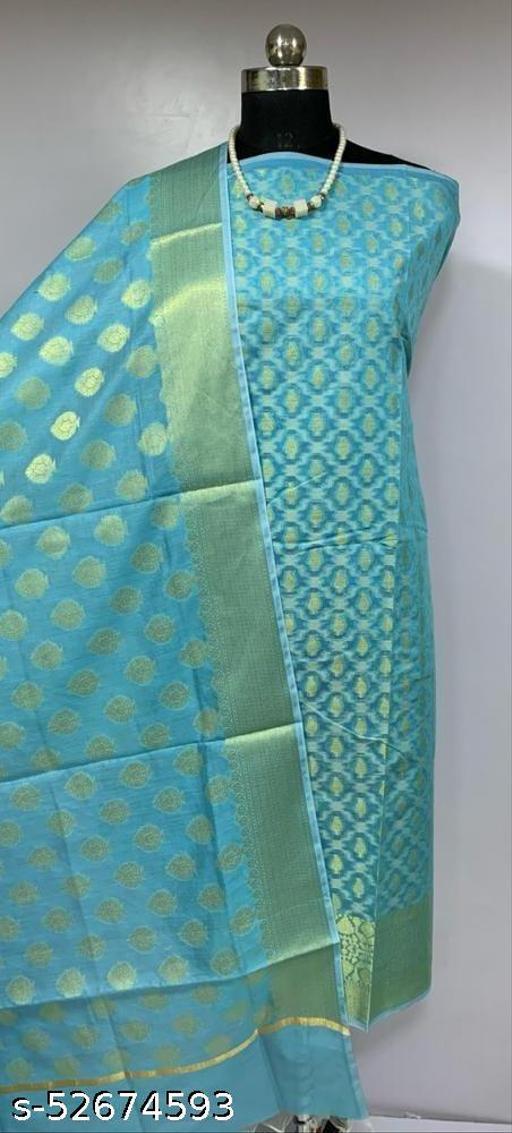 (K2Aqua Blue) Fashionable Banarsi Cotton Suit And Dress Material