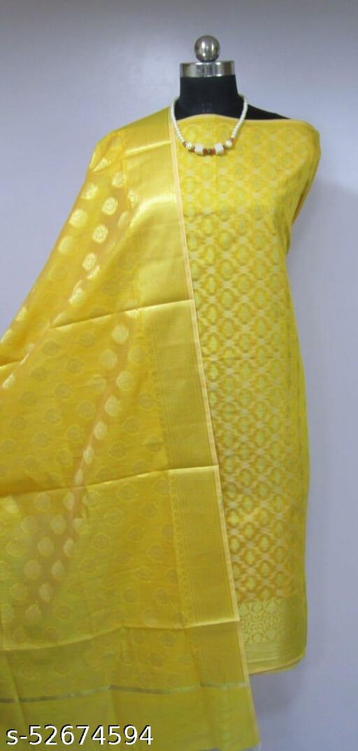 (K2Yellow) Fashionable Banarsi Cotton Suit And Dress Material