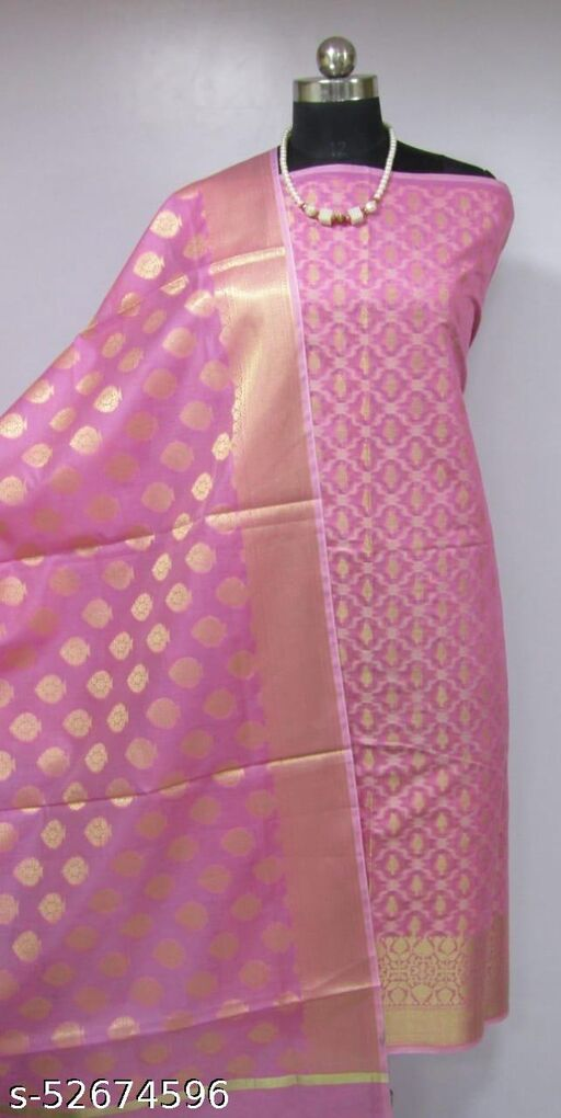 (K2Pink) Fashionable Banarsi Cotton Suit And Dress Material