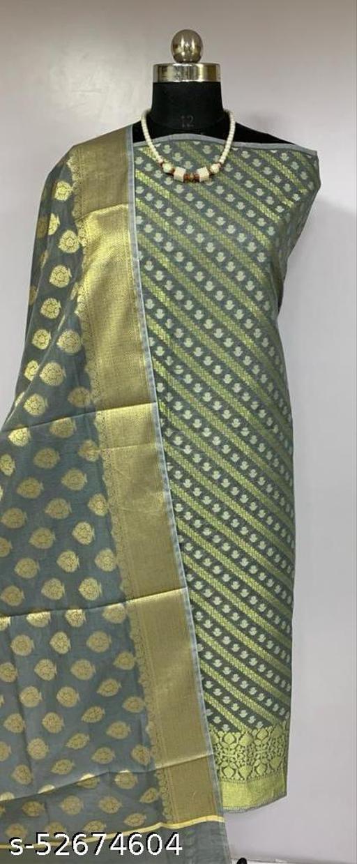 (K3Grey) TrenDy Fabulous Banarsi Cotton Suit And Dress Material