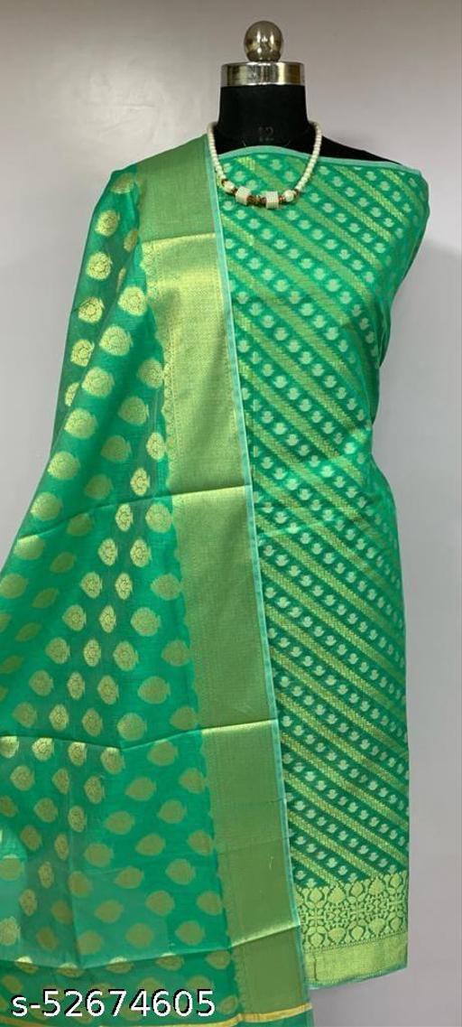 (K3Mint Green) TrenDy Fabulous Banarsi Cotton Suit And Dress Material