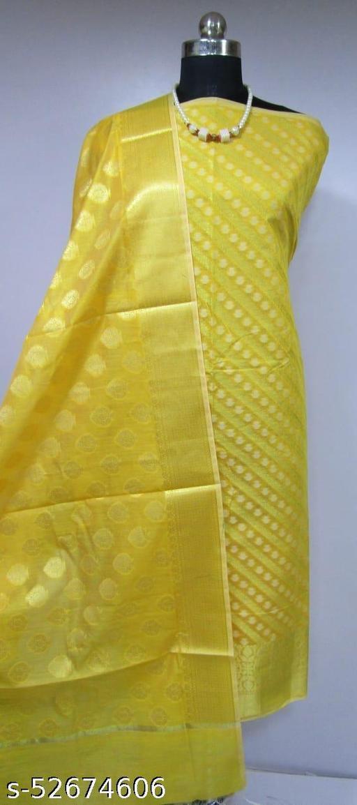 (K3Yellow) TrenDy Fabulous Banarsi Cotton Suit And Dress Material