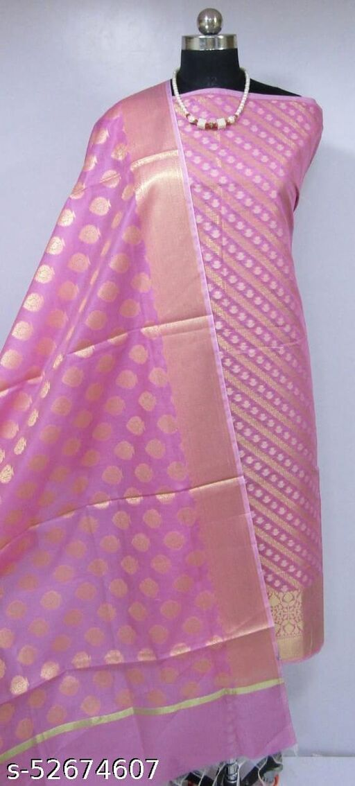 (K3Pink) TrenDy Fabulous Banarsi Cotton Suit And Dress Material