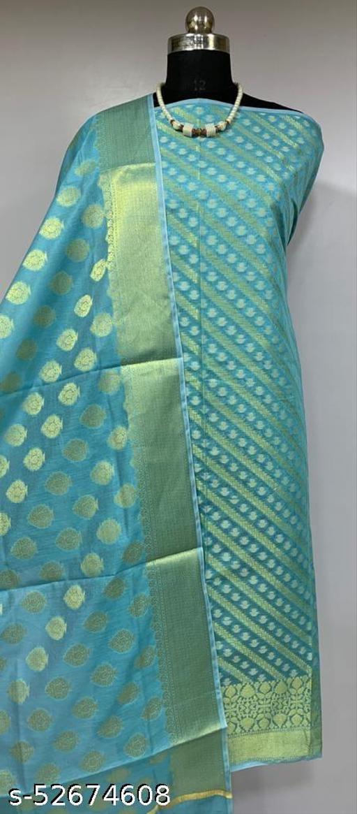 (K3Aqua Blue) TrenDy Fabulous Banarsi Cotton Suit And Dress Material