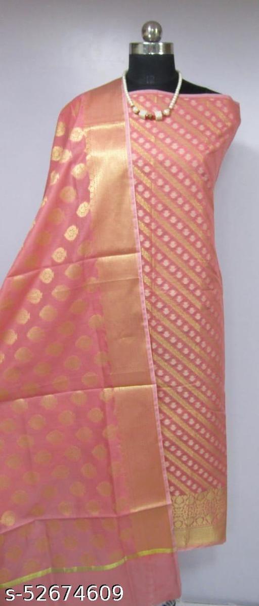 (K3Peach) TrenDy Fabulous Banarsi Cotton Suit And Dress Material