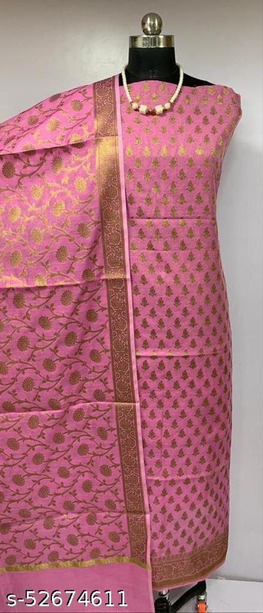 (K4Pink) Fabulous Banarsi Cotton Suit And Dress Material
