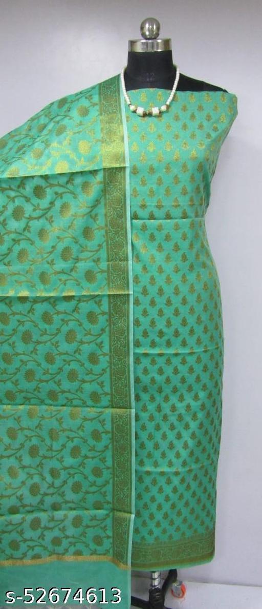 (K4Mint Green) Fabulous Banarsi Cotton Suit And Dress Material