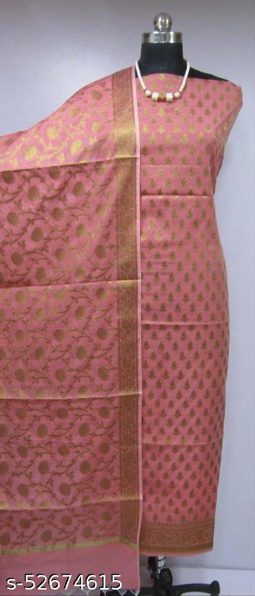 (K4Peach) Fabulous Banarsi Cotton Suit And Dress Material