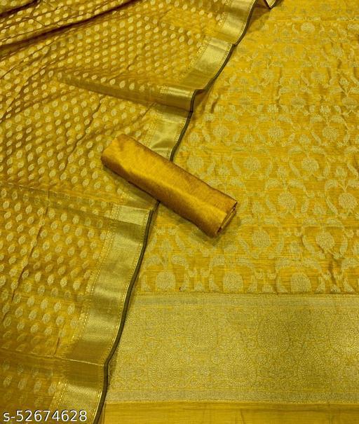 (K5Mustard) Fabulous Banarsi Jaquard Chanderi Cotton Suit And Dress Material