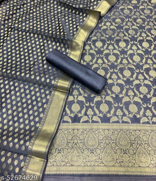 (K5Grey) Fabulous Banarsi Jaquard Chanderi Cotton Suit And Dress Material