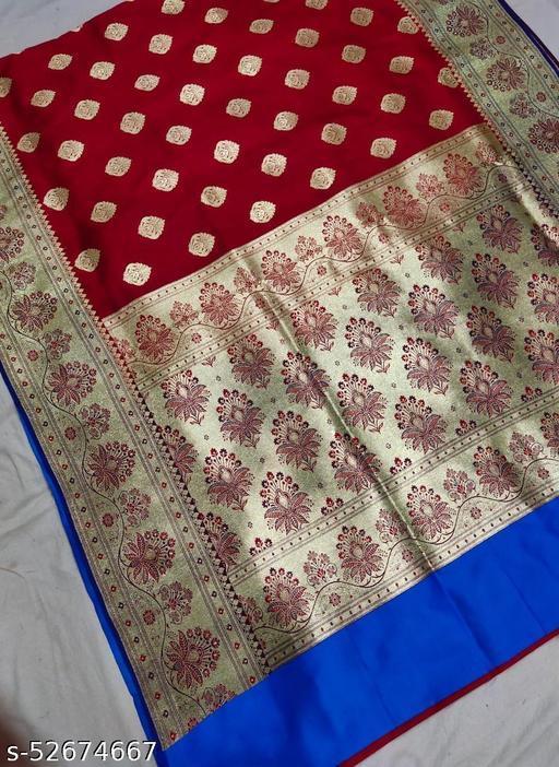 (K1Red) Fabulous Banarsi Handloom Silk Saree For Specially Weddings