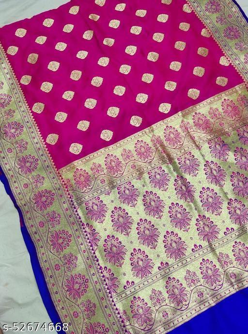 (K1Pink) Fabulous Banarsi Handloom Silk Saree For Specially Weddings