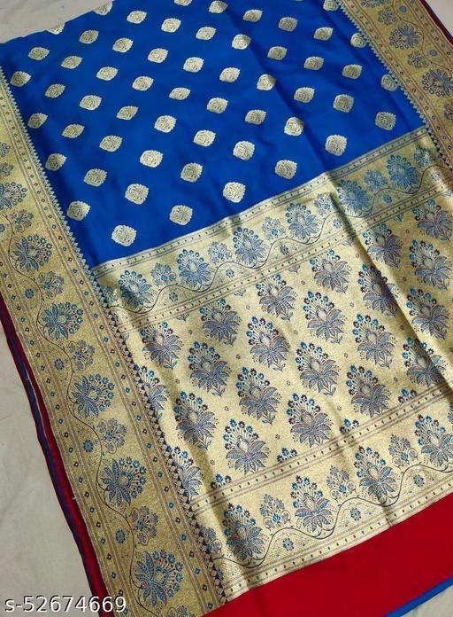 (K1Aqua Blue) Fabulous Banarsi Handloom Silk Saree For Specially Weddings