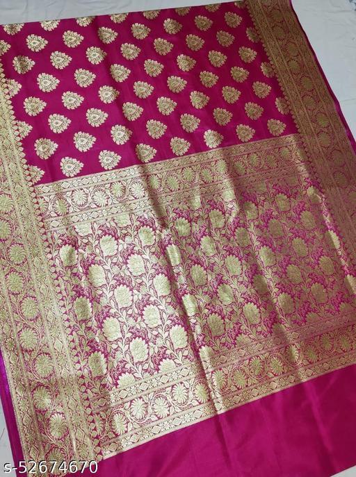 (K1Pink..) Fabulous Banarsi Handloom Silk Saree For Specially Weddings