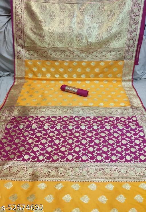 (K12Yellow) Fabulous TrenDy Banarsi Partly Silk Saree for Specially Weddings