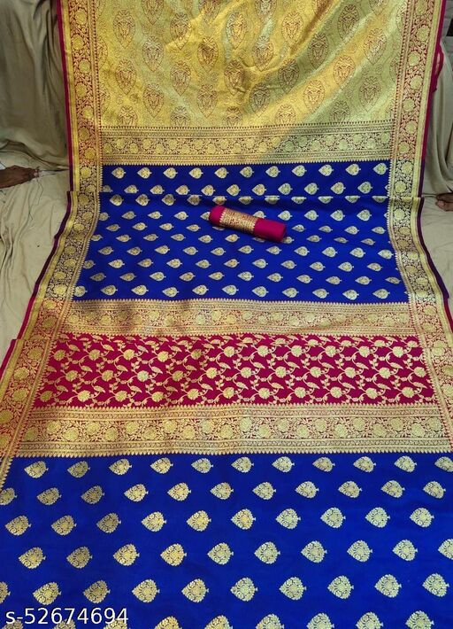 (K12Blue) Fabulous TrenDy Banarsi Partly Silk Saree for Specially Weddings