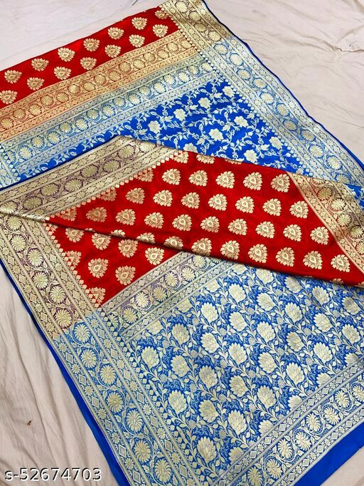 (K13Red) Fabulous Banarsi Partly Silk Saree Specially For Weddings