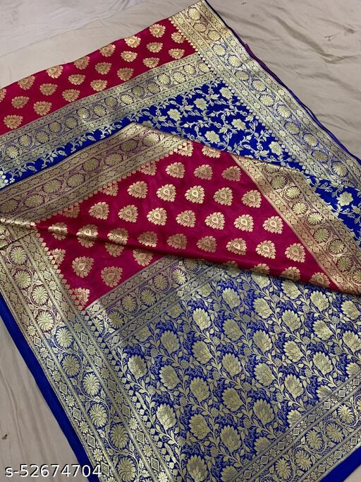 (K13Pink) Fabulous Banarsi Partly Silk Saree Specially For Weddings