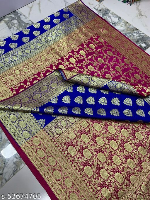 (K13Blue) Fabulous Banarsi Partly Silk Saree Specially For Weddings