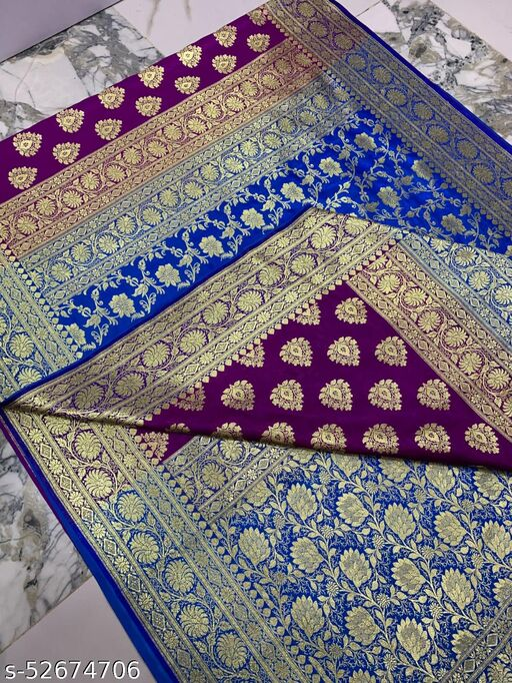 (K13Magenta) Fabulous Banarsi Partly Silk Saree Specially For Weddings