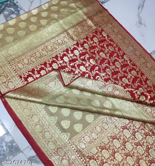 (K13Cream) Fabulous Banarsi Partly Silk Saree Specially For Weddings