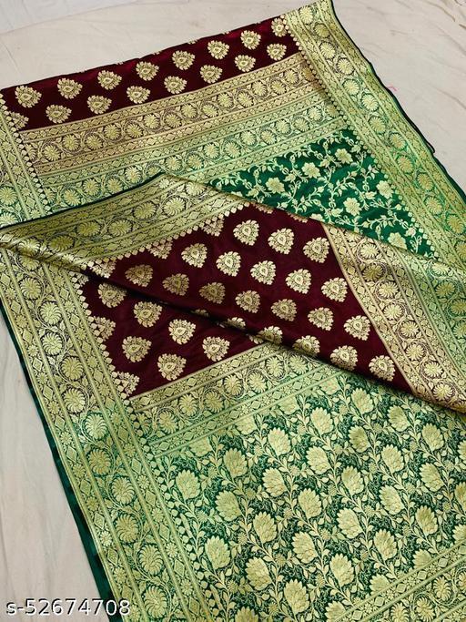 (K13Maroon) Fabulous Banarsi Partly Silk Saree Specially For Weddings
