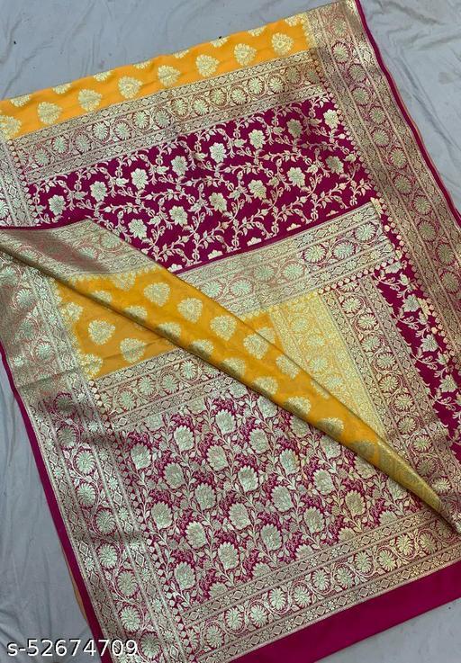 (K13Yellow) Fabulous Banarsi Partly Silk Saree Specially For Weddings