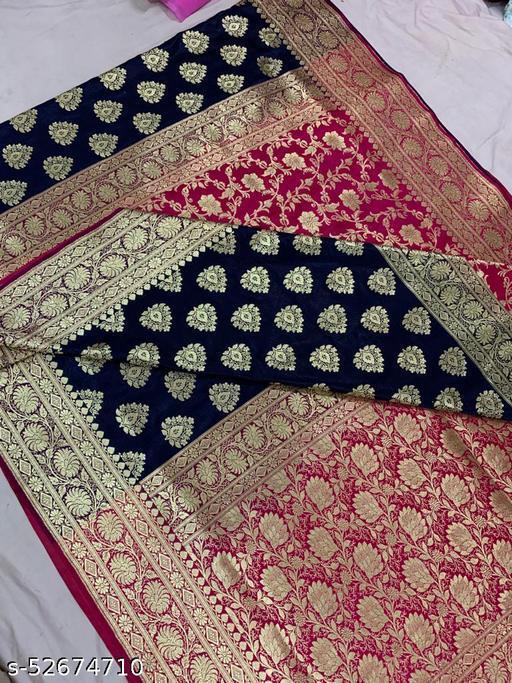 (K13Navy Blue) Fabulous Banarsi Partly Silk Saree Specially For Weddings