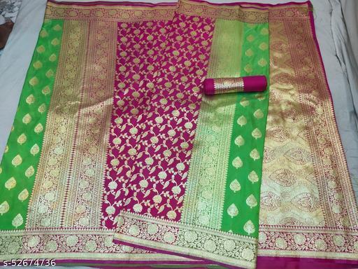 (K16Mint Green) Fabulous TrenDy Banarsi Partly Silk Saree for Specially Weddings